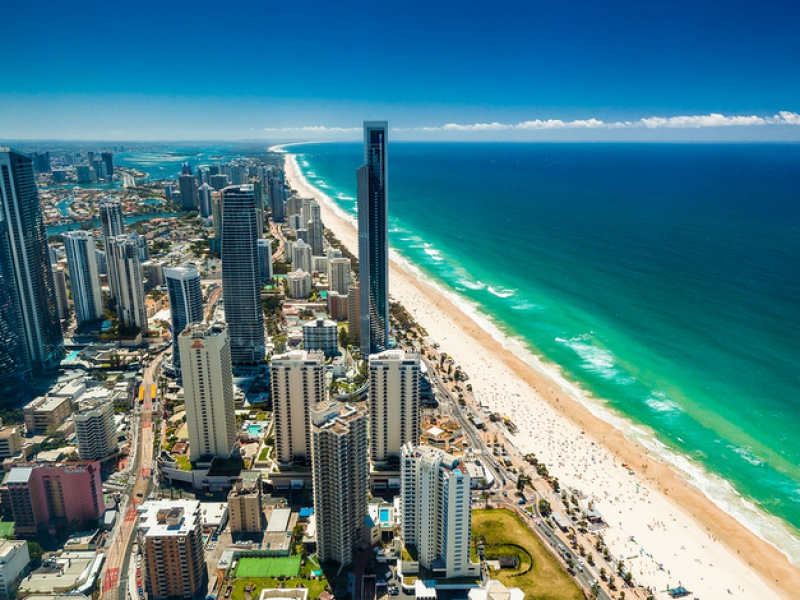 GOLD COAST, AUS – OCT 04 2015: Aerial view of the Gold Coast in
